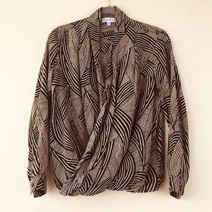Amanda Uprichard silk wrap draped career blouse